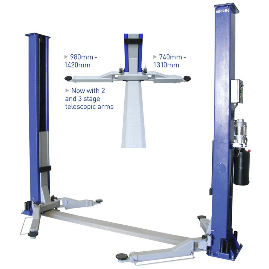 Hydraulic Auto Lift : As a twin hydraulic ram post lift automotech