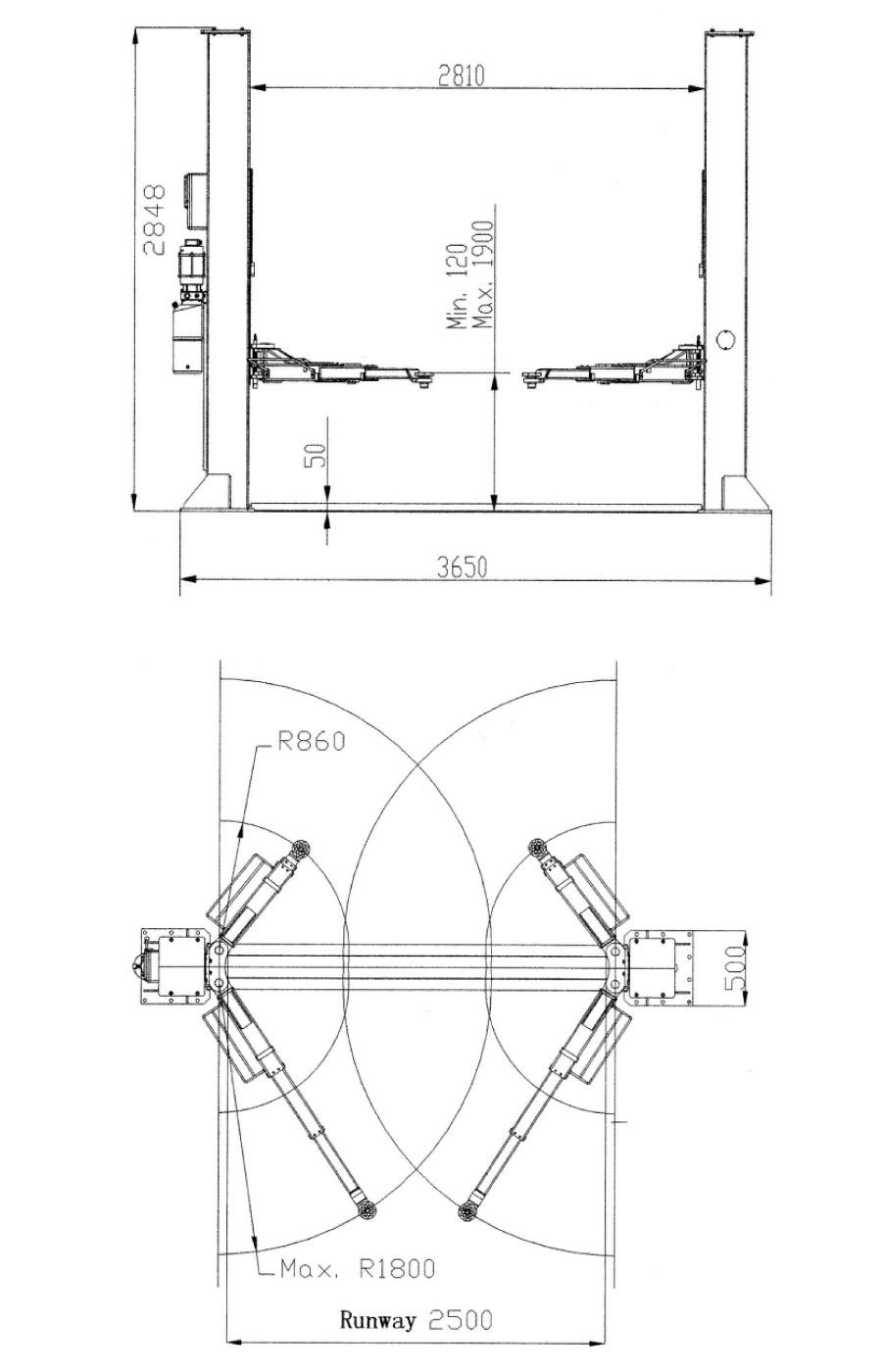 As 6150a Twin Hydraulic Ram 2 Post Lift Automotech