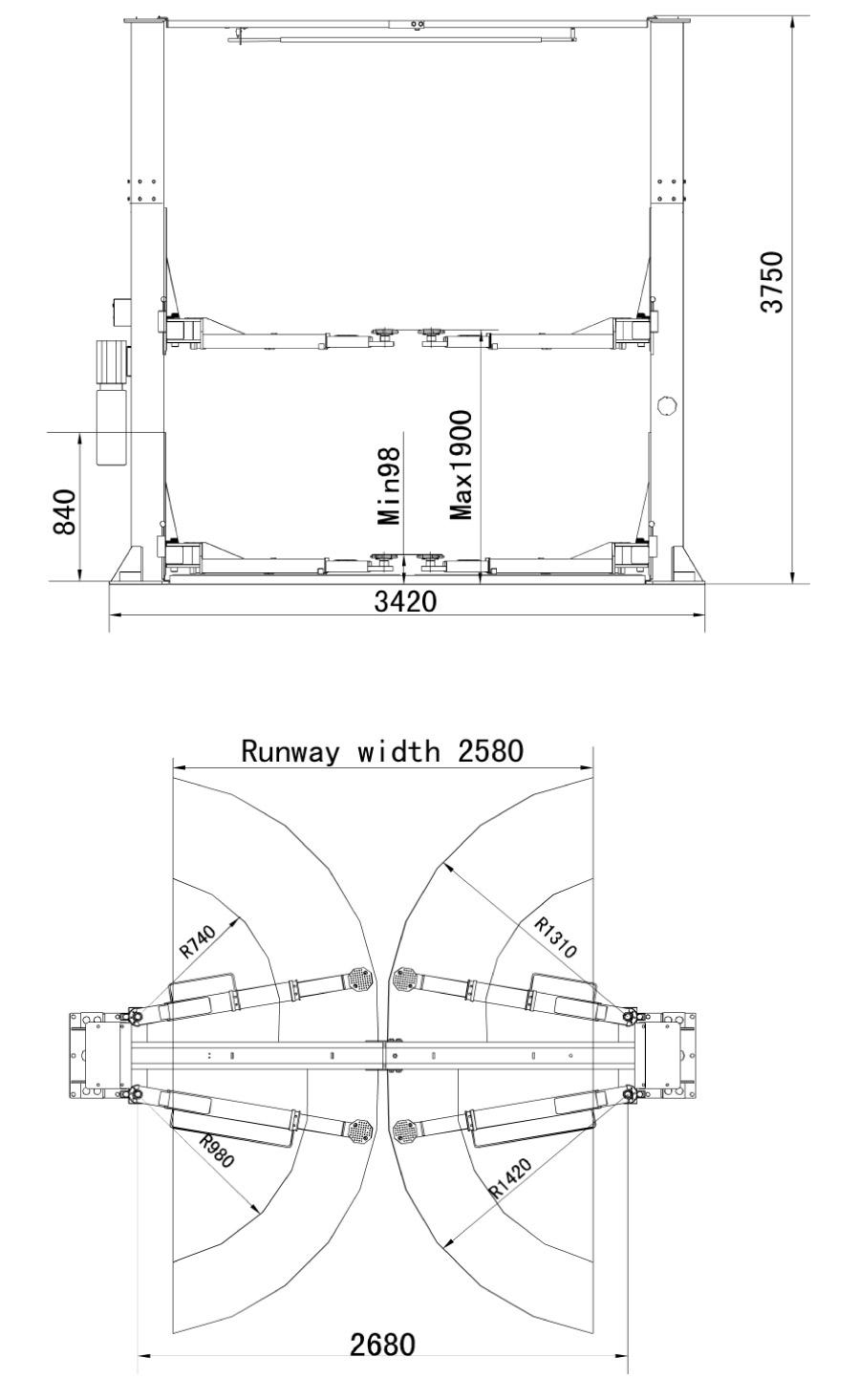 As 6240ta Twin Hydraulic Ram Clear Floor 2 Post Lift Automotech Diagram Previousplaynext