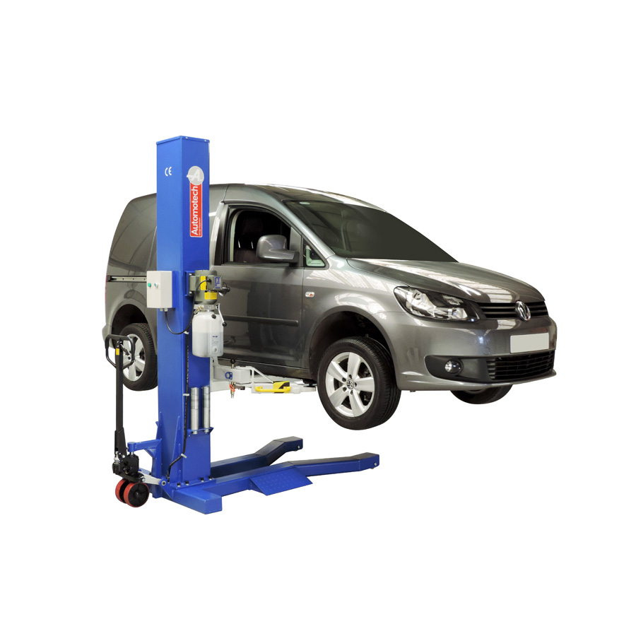 Working Auto Lift : As mobile single post vehicle lift automotech